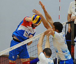 Nemanja Petric of Serbia vs Mitja Gasparini of Slovenia during friendly volleyball match between National teams of Serbia and Slovenia, on August 18, 2017, in Belgrade, Serbia. Photo by Nebojsa Parausic / MN press / Sportida