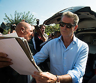 Pierce Brosnan arrive at the hotel for the 40th Deauville American Film Festival on September 5, 2014 in Deauville,
