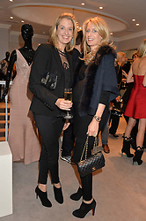 Left to right, LIZ McNAMARA and ARABELLA DUNN at a party at Herve Leger, Lowndes Street, London on 12th November 2014 to view the latest collection.