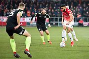 Salford City forward Jake Jervis in possession of the ball                                            during the EFL Sky Bet League 2 match between Salford City and Macclesfield Town at the Peninsula Stadium, Salford, United Kingdom on 23 November 2019.