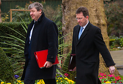 London, March 3rd 2015. Members of the cabinet arrive at 10 Downing Street for their weekly meeting. PICTURED: Attorney General Jeremy Wright QC (R) arrives at no 10 with Alistair Carmichael MP, Secretary of State for Scotland