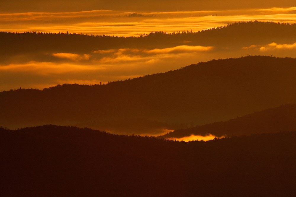 Sunrise in Bieszczady National Park, view from Polonina Carynska, Poland