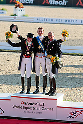 Medals Grand Prix Special<br /> 1 Edward Gal<br /> 2 Laura Bechtolsheimer<br /> 3 Steffen Peters<br /> Alltech FEI World Equestrian Games <br /> Lexington - Kentucky 2010<br /> © Dirk Caremans