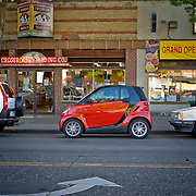Smart car by Mercedes parked on Broadway, Capitol Hill, Seattle, Washington