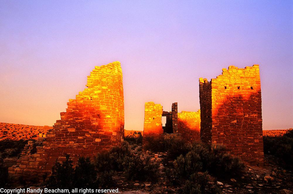 Hovenweep Castle at sunrise. Hovenweep National Monument, Utah