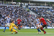 GOAL - 0-1 Southampton midfielder Pierre-Emile Hojbjerg (23) shoots past Brighton and Hove Albion goalkeeper Mathew Ryan (1) during the Premier League match between Brighton and Hove Albion and Southampton at the American Express Community Stadium, Brighton and Hove, England on 30 March 2019.
