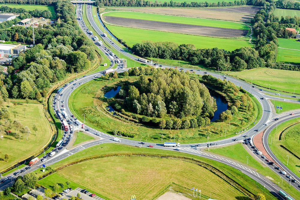 Nederland, Friesland, Gemeente De Friese Meren, 10-10-2014; files op de wegen en toeritten rond knooppunt Joure<br /> Congestion at Joure junction.<br /> luchtfoto (toeslag op standard tarieven);<br /> aerial photo (additional fee required);<br /> copyright foto/photo Siebe Swart
