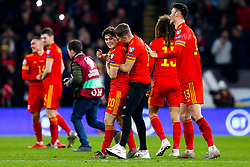 Daniel James celebrates with David Brooks after Wales win 2-0 to secure their qualification for Euro 2020 - Rogan/JMP - 19/11/2019 - FOOTBALL - Cardiff City Stadium - Cardiff, Wales - Wales v Hungary - UEFA Euro 2020 Qualifiers.