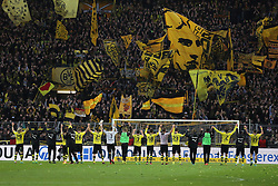 15.02.2014, Signal Iduna Park, Dortmund, GER, 1. FBL, Borussia Dortmund vs Eintracht Frankfurt, 21. Runde, im Bild Die erfolgreiche Dortmunder Mannschaft feiert mit den Fans, vor der schwarz gelben Wand den Sieg gegen die Eintracht // during the German Bundesliga 21th round match between Borussia Dortmund and Eintracht Frankfurt at the Signal Iduna Park in Dortmund, Germany on 2014/02/15. EXPA Pictures © 2014, PhotoCredit: EXPA/ Eibner-Pressefoto/ Schueler<br /> <br /> *****ATTENTION - OUT of GER*****