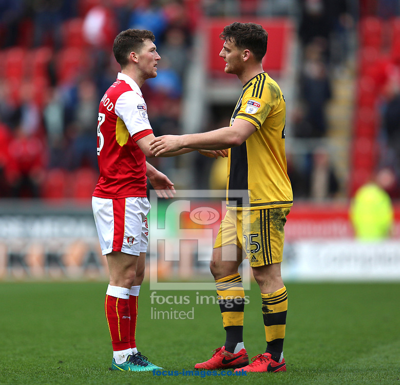 Richie Smallwood (left) of Rotherham United is consoled by Chris Martin of Fulham after Rotherham United became the first team to be relegated this season after defeat in the Sky Bet Championship match at the New York Stadium, Rotherham<br /> Picture by James Wilson/Focus Images Ltd 07709 548263<br /> 01/04/2017