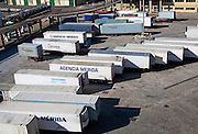 Vehicle containers on the quayside in the port of Malaga, Spain