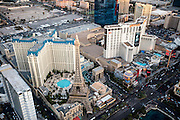 Aerial view of Paris and Planet Hollywood Hotels Las Vegas