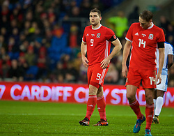 CARDIFF, WALES - Tuesday, November 14, 2017: Wales' Sam Vokes looks dejected after seeing his penalty saved during the international friendly match between Wales and Panama at the Cardiff City Stadium. (Pic by David Rawcliffe/Propaganda)