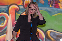 © Licensed to London News Pictures. 27/01/2020. Oxford, UK. Rebecca Long-Bailey speaks at a Labour leadership campaign event held in the Glow Hall at the Blackbird Leys Community Centre in Oxford. Photo credit: Peter Manning/LNP