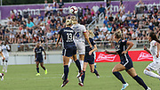 North Carolina Courage defender Abby Dahlkemper (13) and Olympique Lyonnais forward Ada Hegerberg (14) go up for a header during an International Champions Cup women's soccer game, Sunday, Aug. 18, 2019, in Cary, Olympique Lyonnais bested the North Carolina Courage 1-0 in the finals.  (Brian Villanueva/Image of Sport)