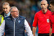 Gillingham FC  manager Steve Evans has a word with the referee during the EFL Sky Bet League 1 match between Gillingham and Oxford United at the MEMS Priestfield Stadium, Gillingham, England on 18 January 2020.