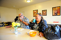 Breakfast at the First United Methodist Church in Salinas, California. Volunteers from the community drive a program which provides meals, counseling resources and occasional shelter to people in need. Basic rules, a generous spirit and a firm hand keep the program alive with minimal outside funding.