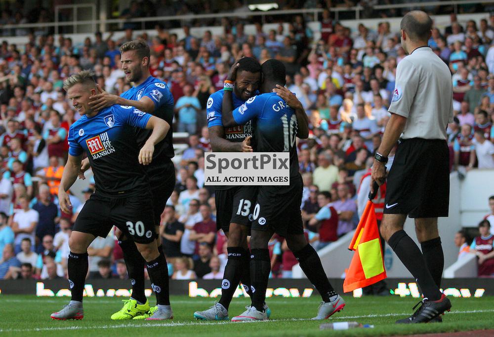 Callum Wilson,Max Gradel, Matt Ritchie, CELEBRATEDuring West Ham United vs Bournemouth FC on Saturday the 22nd August 2015