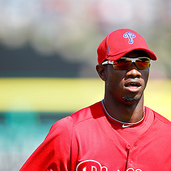 February 24, 2011; Clearwater, FL, USA; Philadelphia Phillies right fielder Domonic Brown (9) during a spring training exhibition game against the Florida State Seminoles at Bright House Networks Field. The Phillies defeated the Seminoles 8-0. Mandatory Credit: Derick E. Hingle