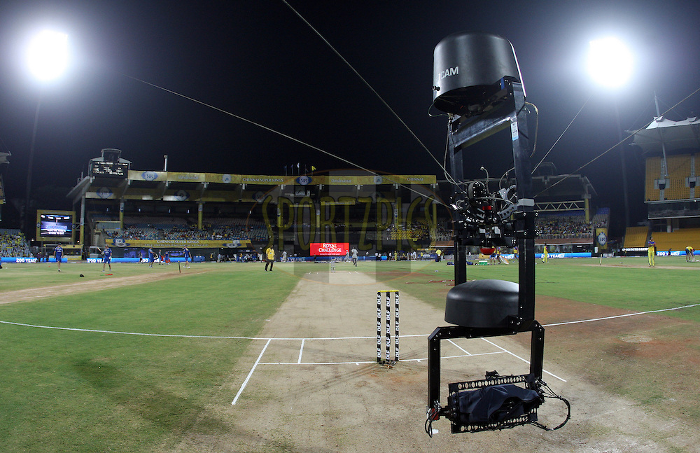 Spidercam in action during match 46 of the the Indian Premier League ( IPL) 2012  between The Chennai Superkings and the Deccan Chargers held at the M. A. Chidambaram Stadium, Chennai on the 4th May 2012..Photo by Jacques Rossouw/IPL/SPORTZPICS