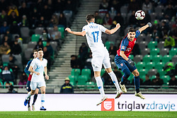 November 16, 2018 - Ljubljana, SLOVENIA - 181116 Miha Mevlja of Slovenia and Tarik Elyounoussi of Norway competes for the ball during the Nations League match between Slovenia and Norway on November 16, 2018 in Ljubljana..Photo: Jon Olav Nesvold / BILDBYRÃ…N / kod JE / 160359 (Credit Image: © Jon Olav Nesvold/Bildbyran via ZUMA Press)