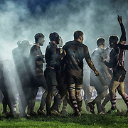 Ayr RFC v  Heriots . BT Premiership. Archie Russell (2nd R) raises his arm as exhausted Ayr prevent Heriots making a breakthrough in the dying seconds of the match.  Picture Robert Perry 12th Dec 2015<br /> <br /> Must credit photo to Robert Perry<br /> FEE PAYABLE FOR REPRO USE<br /> FEE PAYABLE FOR ALL INTERNET USE<br /> www.robertperry.co.uk<br /> NB -This image is not to be distributed without the prior consent of the copyright holder.<br /> in using this image you agree to abide by terms and conditions as stated in this caption.<br /> All monies payable to Robert Perry<br /> <br /> (PLEASE DO NOT REMOVE THIS CAPTION)<br /> This image is intended for Editorial use (e.g. news). Any commercial or promotional use requires additional clearance. <br /> Copyright 2014 All rights protected.<br /> first use only<br /> contact details<br /> Robert Perry     <br /> 07702 631 477<br /> robertperryphotos@gmail.com<br /> no internet usage without prior consent.         <br /> Robert Perry reserves the right to pursue unauthorised use of this image . If you violate my intellectual property you may be liable for  damages, loss of income, and profits you derive from the use of this image.