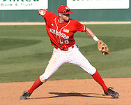 Nebraska shortstop Ryan Wehrle gets ready to throw to first in the bottom of the ninth against Kansas State.  Nebraska held on to beat Kansas State 5-4 at Tointon Stadium in Manhattan, Kansas, April 1, 2006.