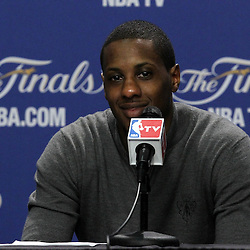 Jun 19, 2012; Miami, FL, USA; Miami Heat point guard Mario Chalmers  talks to the media during the post game press conference after game four in the 2012 NBA Finals against the Oklahoma City Thunder at the American Airlines Arena. Miami won 104-98. Mandatory Credit: Derick E. Hingle-US PRESSWIRE