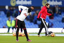 Anthony Martial of Manchester United warms up wearing a snood - Mandatory by-line: Matt McNulty/JMP - 04/12/2016 - FOOTBALL - Goodison Park - Liverpool, England - Everton v Manchester United - Premier League