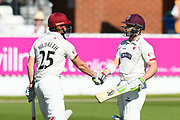 50 for Dean Elgar - Dean Elgar of Somerset is congratulated by James Hildreth of Somerset after he scores a half century during the Specsavers County Champ Div 1 match between Somerset County Cricket Club and Hampshire County Cricket Club at the Cooper Associates County Ground, Taunton, United Kingdom on 26 May 2017. Photo by Graham Hunt.
