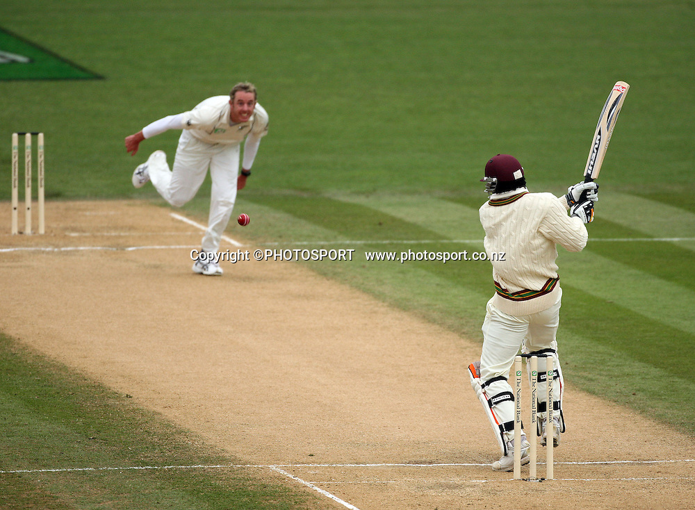 Chris Gayle plays a shot off Ian O'Brien during play on day 3 of the second cricket test at McLean Park in Napier. National Bank Test Series, New Zealand v West Indies, Sunday 21 December 2008. Photo: Andrew Cornaga/PHOTOSPORT