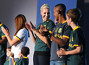 CAPE TOWN, SOUTH AFRICA - Thursday 24 April 2014, Liezel van der Westehuizen and Katlego Maboe clap during the Asics launch of the new Springbok rugby jersey at The Lookout in the V&amp;A Waterfront<br /> Photo by Roger Sedres/ImageSA