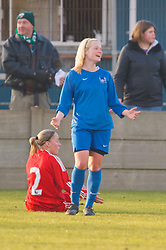 SKELMERSDALE, ENGLAND - Sunday, December 14, 2008: Birmingham City's Becky Hall celebrates scoring the second goal against Liverpool during the Women's FA Premier League match at the Ashley Travel Stadium. (Photo by David Rawcliffe/Propaganda)