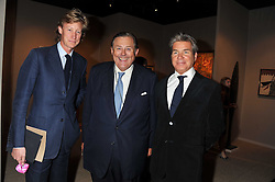 Left to right, the HON.JAMES HOLLAND-HIBBERT, DAVID KER and HUGO DE FERRANTI  at the Private View of the Pavilion of Art & Design London 2011 held in Berkeley Square, London on 10th October 2011.