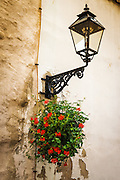 Street lamp and flowers in old town Gradec, Zagreb, Croatia