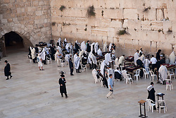 Middle East, Israel, Jerusalem, Jewish worshippers in prayer at Western Wall