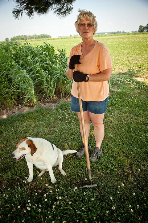 Bonnie Schnitker and her dog Oddie, Raymond, IN