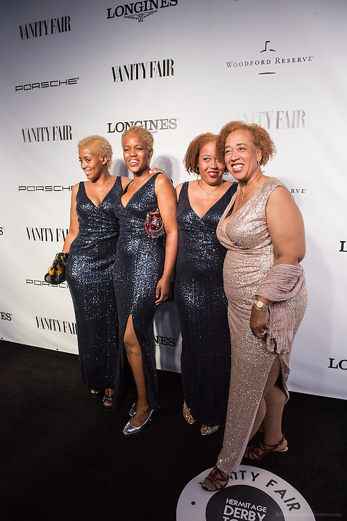 Glenda, Love, Joy and Faith are seen on the black carpet at the Vanity Fair Derby party at 21c Museum Hotel. May 6, 2016