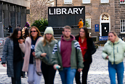 Students outside Library at University of Edinburgh, Scotland, UK