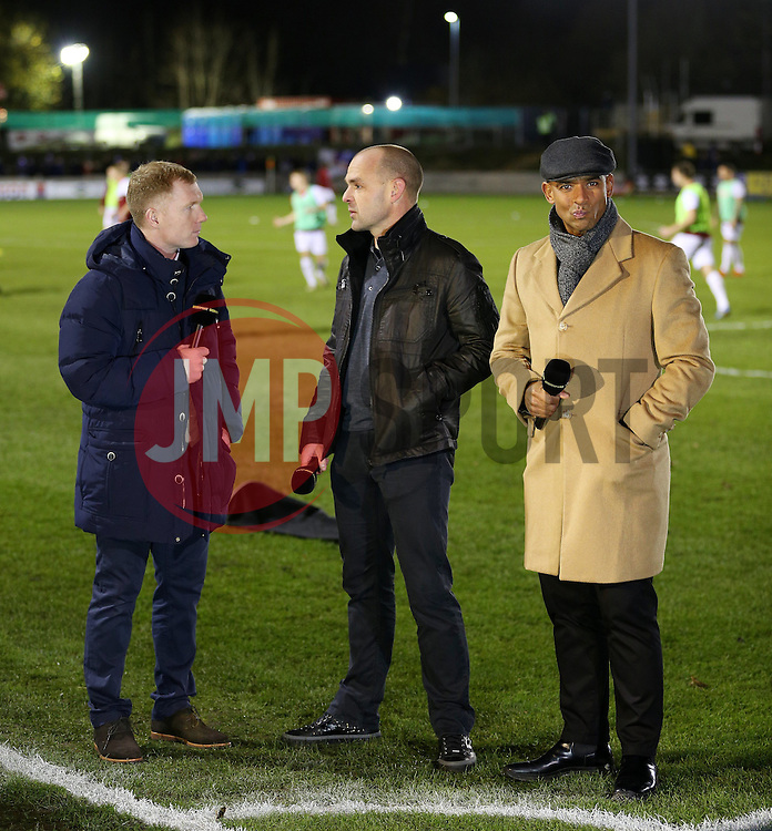 Paul Scholes, Danny Murphy and Trevor Sinclair pundit for the BBC - Mandatory byline: Matt McNulty/JMP - 04/12/2015 - Football - Moor Lane - Salford, England - Salford City v Hartlepool United - FA Cup