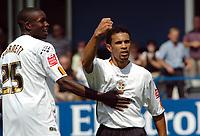 Photo: Kevin Poolman.<br />Luton Town v Leicester City. Coca Cola Championship.<br />05/08/2006. <br />Luton's Carlos Edwards (R) celebrates his goal with Leon Barnett.
