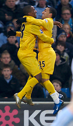 MANCHESTER, ENGLAND - Tuesday, December 18, 2007: Tottenham Hotspur's Jermain Defoe celebrates the opening goal past Manchester City with team-mate Aaron Lennon during the League Cup Quarter Final match at the City of Manchester Stadium. (Photo by David Rawcliffe/Propaganda)