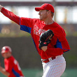 February 22, 2011; Clearwater, FL, USA; Philadelphia Phillies starting pitcher Roy Halladay (34) during spring training at Bright House Networks Field. Mandatory Credit: Derick E. Hingle-US PRESSWIRE