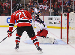 Feb 27, 2014; Newark, NJ, USA; New Jersey Devils left wing Ryane Clowe (29) (not shown) scores a goal on Columbus Blue Jackets goalie Sergei Bobrovsky (72) during the first period at Prudential Center.