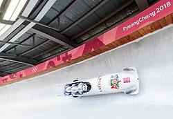 25.02.2018, Olympic Sliding Centre, Pyeongchang, KOR, PyeongChang 2018, 4er Bob, Herren, 3. Lauf, im Bild Oskars Melbardis, Daumants Dreiskens, Arvis Vilkaste, Janis Strenga (LAT) // Oskars Melbardis Daumants Dreiskens Arvis Vilkaste Janis Strenga (LAT) during the men's 4-man bob heat 3 for the Pyeongchang 2018 Winter Olympic Games at the Olympic Sliding Centre in Pyeongchang, South Korea on 2018/02/25. EXPA Pictures © 2018, PhotoCredit: EXPA/ Johann Groder