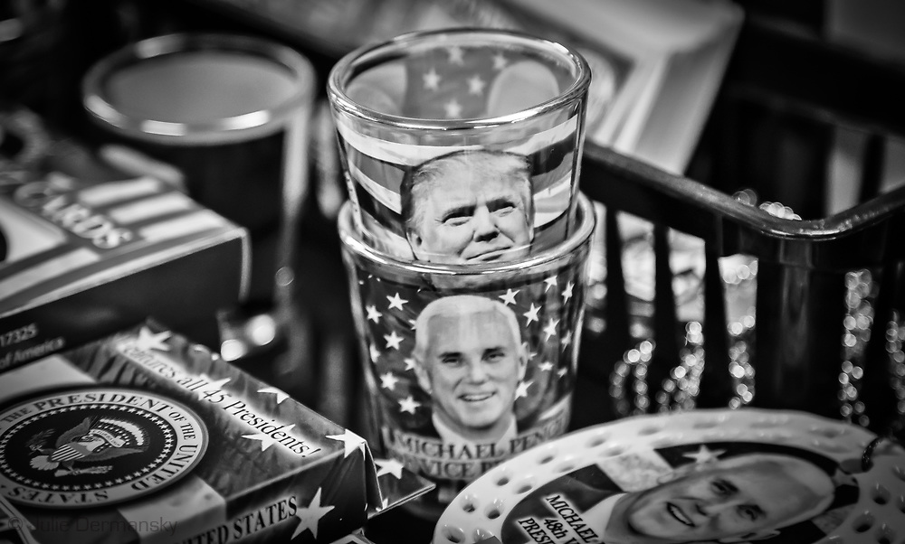 Trump Shot glass and Pence shot glass at gift shop in Gettysberg PA