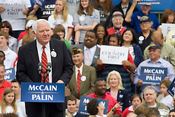 "A former prisoner of war with John McCain, Orson Swindle speaks at a McCain Palin rally in Virginia.  2008 Republican Presidential nominee Senator John McCain (R-AZ) and Governor Sarah Palin (R-AK) held a ""Road to Victory Rally"" in front of an estimated 23,000 supporters in Van Dyke Park in Fairfax, VA on September 10, 2008."
