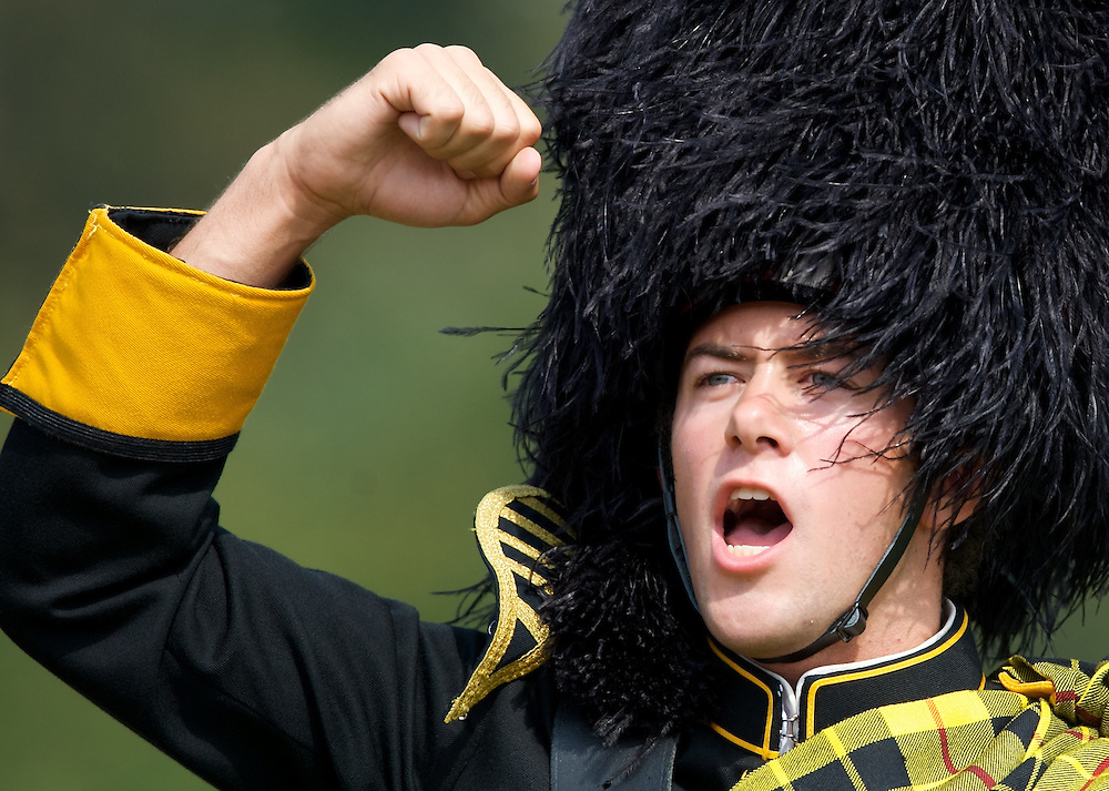 Wooster Drum Major Brett Dawson fires up the Family Weekend crowd on Saturday. The Fighting Scots defeated Ohio Wesleyan University 20-2.
