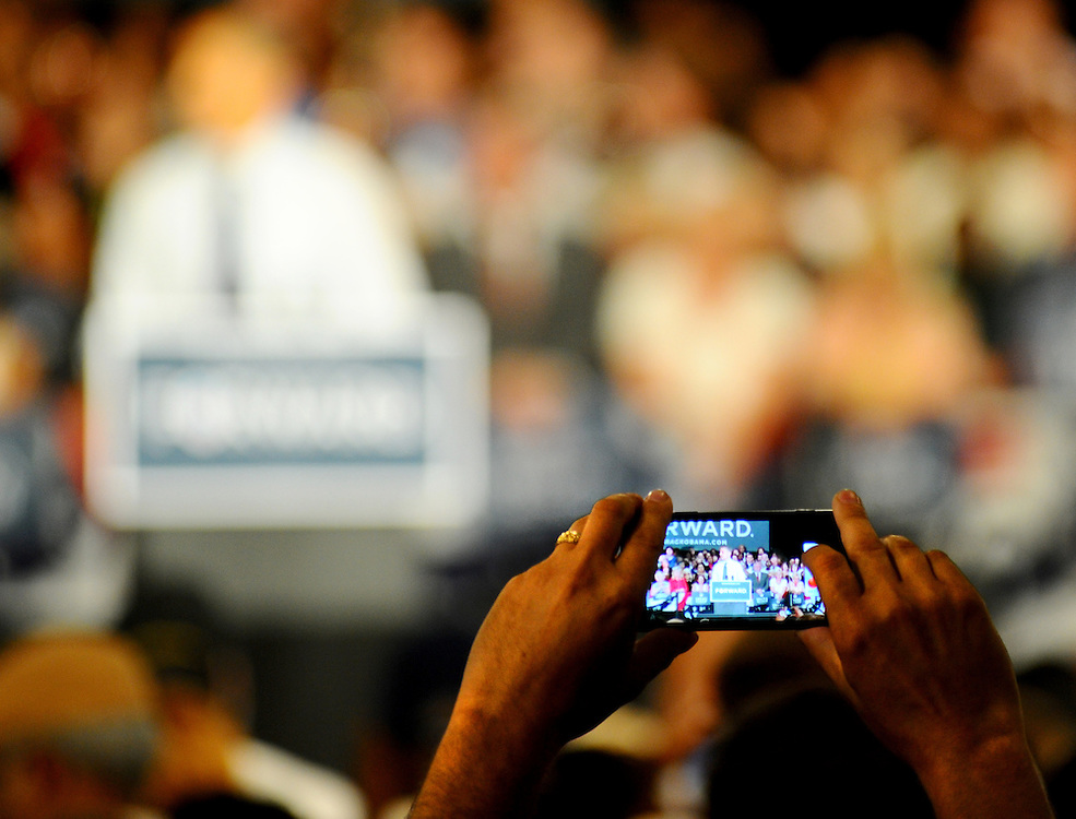 LAURA FONG | SUMMER KENT STATER Supporters gather to see President Barack Obama at the John S Knight Center in Akron Wednesday.