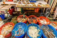 seafood restaurants in the Temple street night market Tsim Sha Tsui Kowloon in Hong Kong